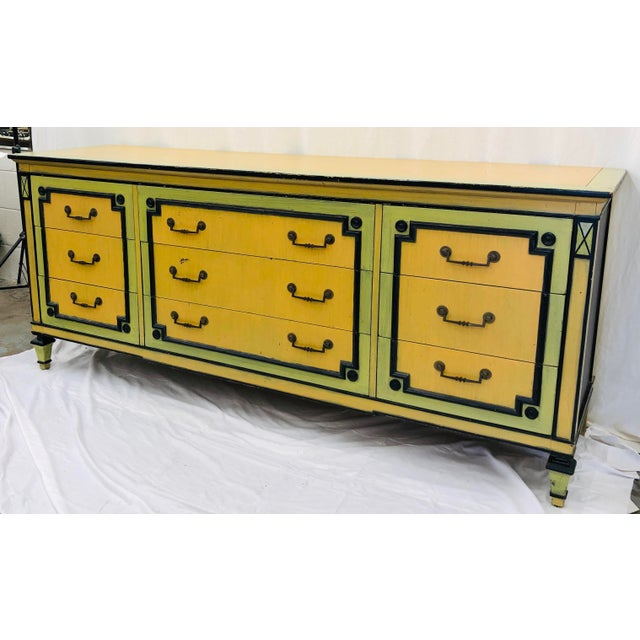 Stunning Vintage Early Mid Century Era Painted Credenza Dresser. Lots of storage, complete with nine (9) deep drawers....