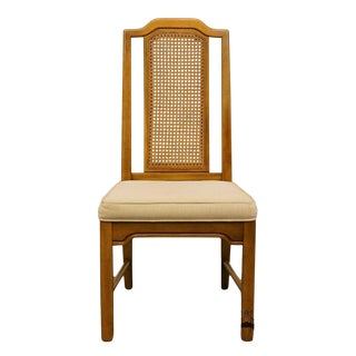 Late 20th Century Vintage Dixie Asian Style Cane Back Dining Side Chair For Sale