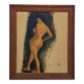1970s Vintage A. Brandon Boys Female Nude Painting