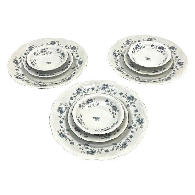 Haviland Blue Garland Plates - Set of 9 For Sale