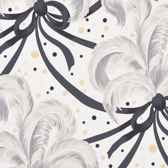 Contemporary Sample - Schumacher X Paul Poiret Plumes Et Rubans Wallpaper in Champagne For Sale - Image 3 of 3
