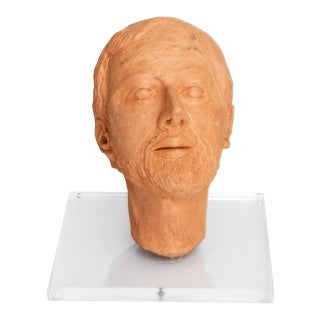 Terracotta Male Bust on Acrylic Base For Sale