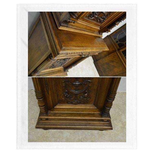 Brown Antique 1800's Carved Walnut Pantry Cabinet For Sale - Image 8 of 11