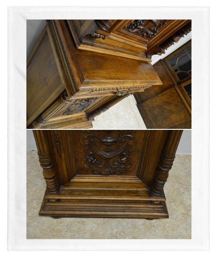 Brown Antique 1800u0027s Carved Walnut Pantry Cabinet For Sale   Image 8 Of 11