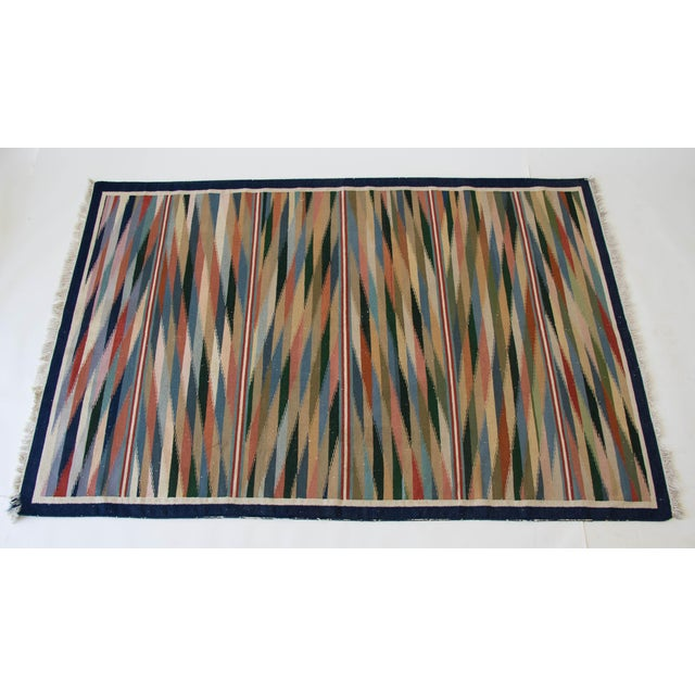 "Multicolor Dhurrie Area Rug - 6' X 8'6"" - Image 3 of 7"