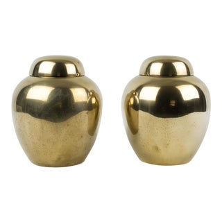 1970s Chinoiserie Brass Ginger Jar Vases - a Pair