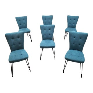 Set of 6 Designer Modernist Blue Tufted Linen Dining Chairs W Hairpin Legs Brand New For Sale