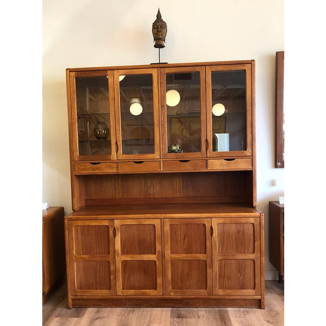 1970s Vintage Teak Wood Two-Piece Display Hutch For Sale - Image 10 of 10