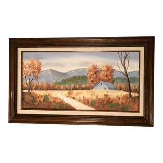 "1991 Original ""Mountain Cabin Landscape"" Signed Painting For Sale"