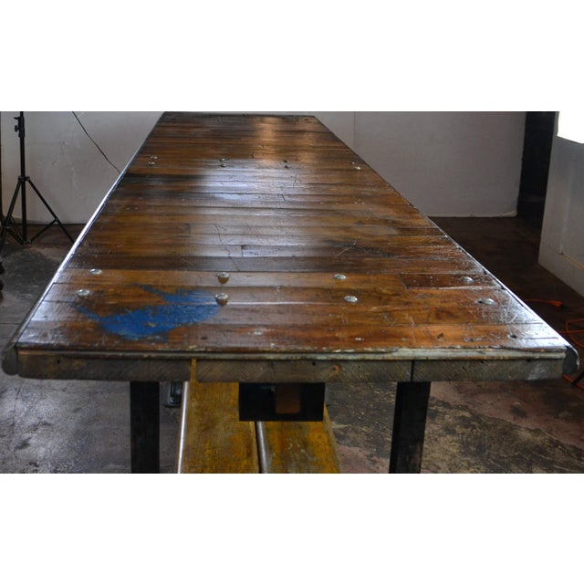 Metal 1950s Long Industrial Table 10 Ft. For Sale - Image 7 of 9