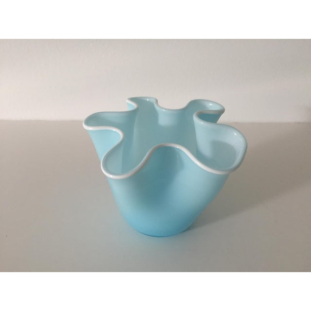 1970s 1970s Italian Blue Glass Handkerchief Vase For Sale - Image 5 of 5