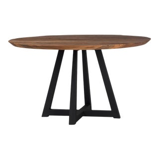 Modern Rustic Round Dining Table For Sale
