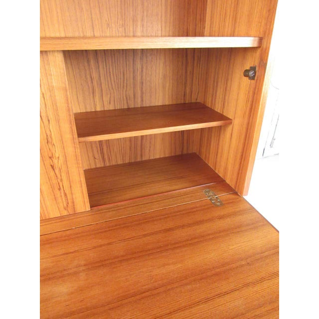 Scandinavian Modern Teak Drop Front Secretary Desk For Sale - Image 4 of 13