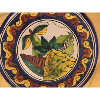 Antique Terra Cotta Italian Majolica Hand Painted Fruit Wall Plate Preview