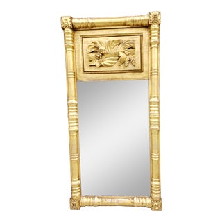 Antique Federal Style Carved Wood Gilt Mirror For Sale