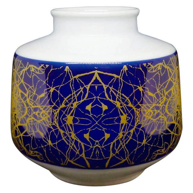 1960s Modernist Brutalist Small Round Vase With Cobalt Blue & Gold For Sale - Image 5 of 5