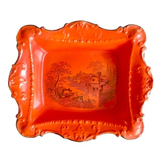 1800s William Adams & Co. English Traditional J. Cutts Red Scenic Platter For Sale