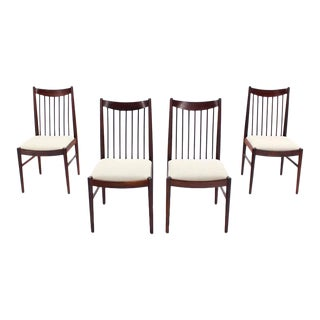 Set of Four Danish Mid Century Danish Modern Rosewood Spindle Back Dining Chairs For Sale