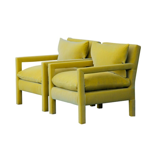 1970s 1970s Contemporary Milo Baughman Reupholstered Yellow Velvet Parsons Chairs - a Pair For Sale - Image 5 of 5