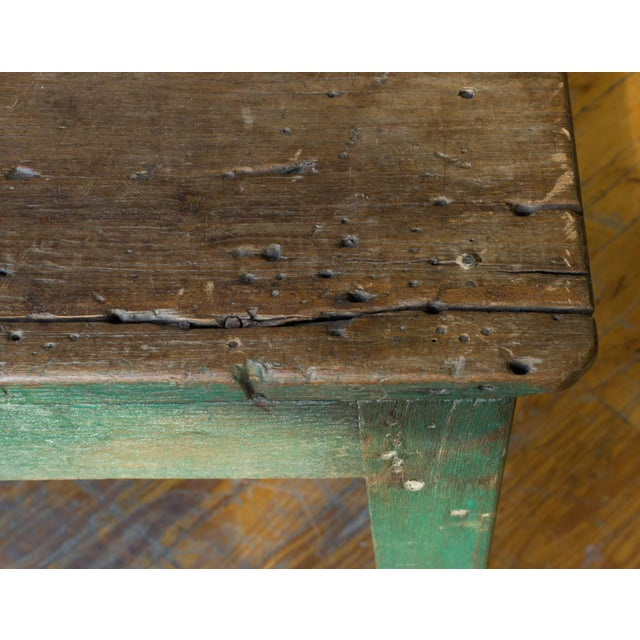 Large French Industrial Wooden Table With Green Paint For Sale - Image 4 of 10