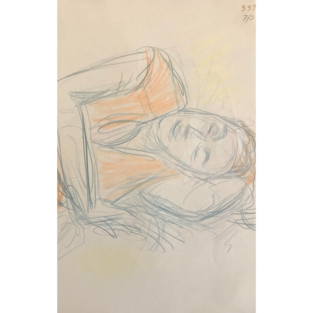 Contemporary 1980s Figurative Drawing of Resting Lady by James Frederic Bone For Sale - Image 3 of 3