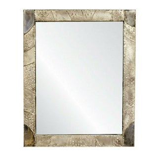 Modernist Brutalist Aluminum Rectangular Wall Mirror Argente Evans Style For Sale