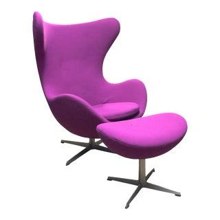 1960s Danish Modern Arne Jacobsen for Fritz Hansen Purple Upholstered Egg Chair