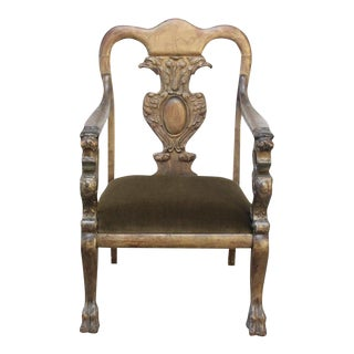 Majestic Odd Fellows Carved and Painted Armchair For Sale