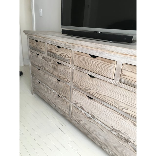 Custom White Washed Pine 10-Drawer Dresser - Image 6 of 11