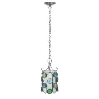Mid Century Bohemian Glass and Iron Pendant Light Fixture For Sale