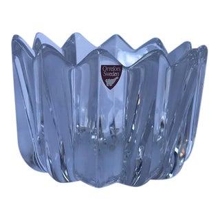 Vintage Signed Orrefors Crystal Flower Shaped Bowl Made in Sweden For Sale