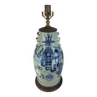 19th Century Chinese Celadon Blue & White Study Motif Lamp For Sale