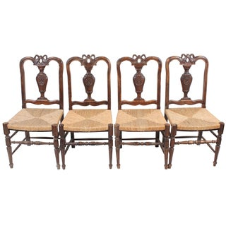Louis XVI-Style Walnut Chairs - Set of 4 For Sale