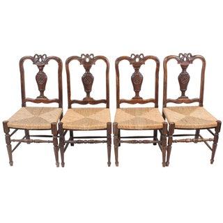 Louis XVI-Style Walnut Chairs - Set of 4