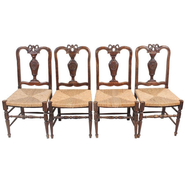 Louis XVI-Style Walnut Chairs - Set of 4 - Image 1 of 3