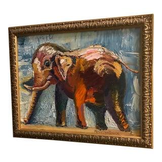 Original Elephant Signed & Framed Oil Painting For Sale