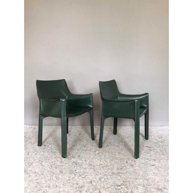 Green Mario Bellini for Cassina Cab 413 Chairs - a Pair For Sale - Image 8 of 8