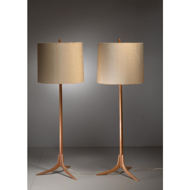 Pair of Swedish oak Floor Lamps, 1960s For Sale - Image 4 of 4