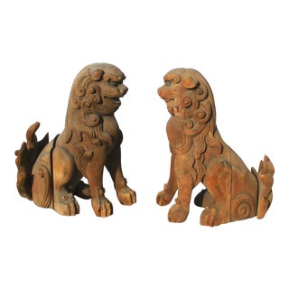 Miji Japanese Cedar Carved Buddhist Shi-Shi - a Pair For Sale