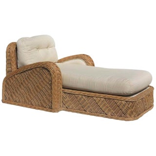 1980s Vintage Jay Spectre for Century Furniture Steamer Wicker Chaise Longue For Sale