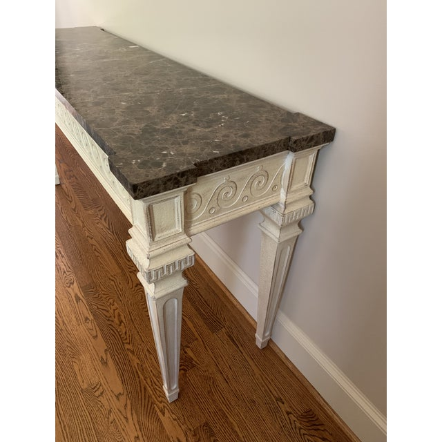 1980s Vintage Louis XVI Style Henredon Ivory/Brown Marble Console For Sale - Image 5 of 13