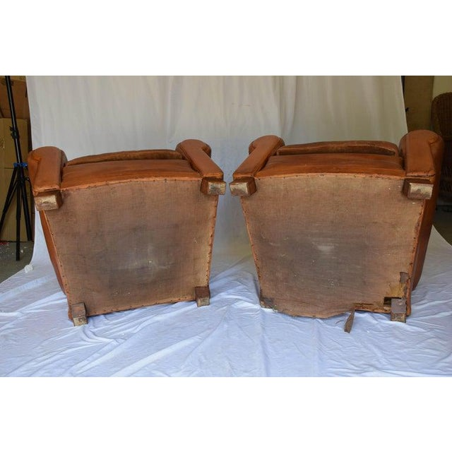 1930s Leather Moustache Leather Club Chairs - a Pair For Sale - Image 12 of 13
