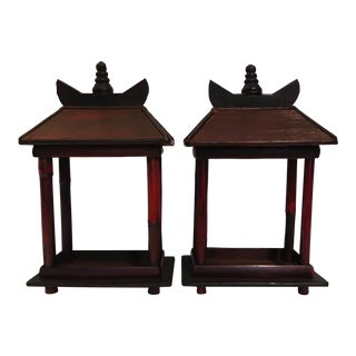 Red Wood Pagodas - a Pair
