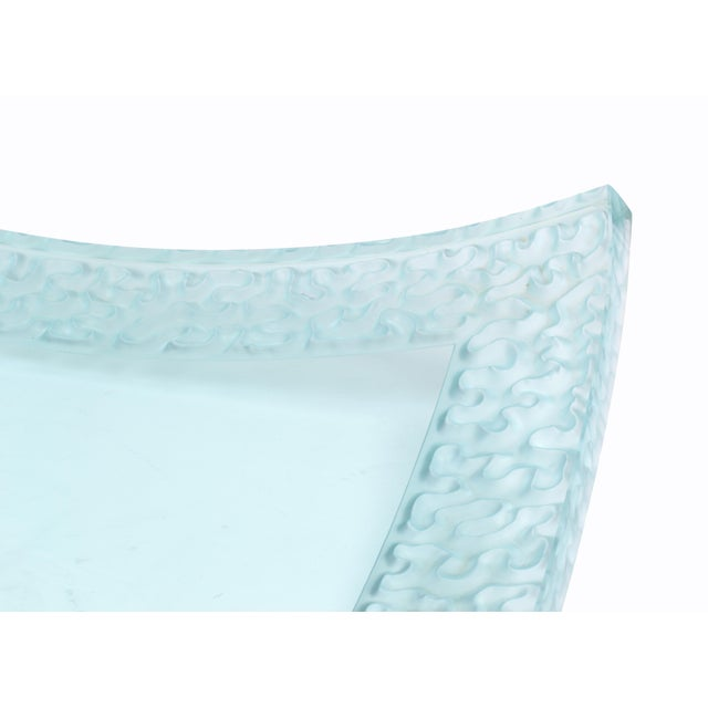 Turquoise Modern Art Glass Signed Heavy Centerpiece by Schlamer, 1996 For Sale - Image 8 of 11