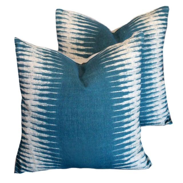 Feather Peter Dunham Ikat Pillow Pair For Sale - Image 7 of 7