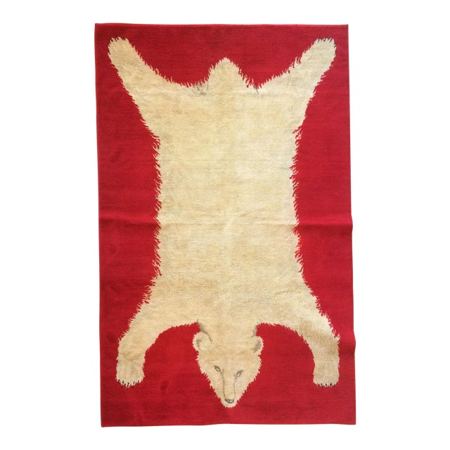 1960s Vintage Wool Polar Bear Red Rug - 3′10″ × 5′9″ For Sale