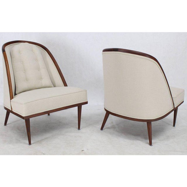 Mid-Century Modern Oiled Walnut Frame Barrel Back Lounge Chairs For Sale In New York - Image 6 of 10