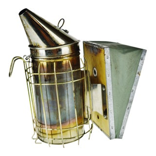 Vintage Bee Smoker With Heat Shield and Leather Bellows For Sale