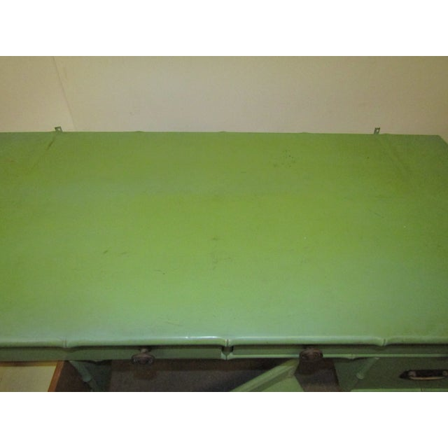 American Vintage Faux Bamboo Desk in Old Green Paint & Top Shelf For Sale - Image 3 of 7