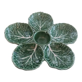 Olfaire Green Cabbage Relish Chip and Dip Tray For Sale